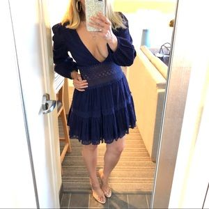 NWT Free People Blue The Delightful Mini Dress S